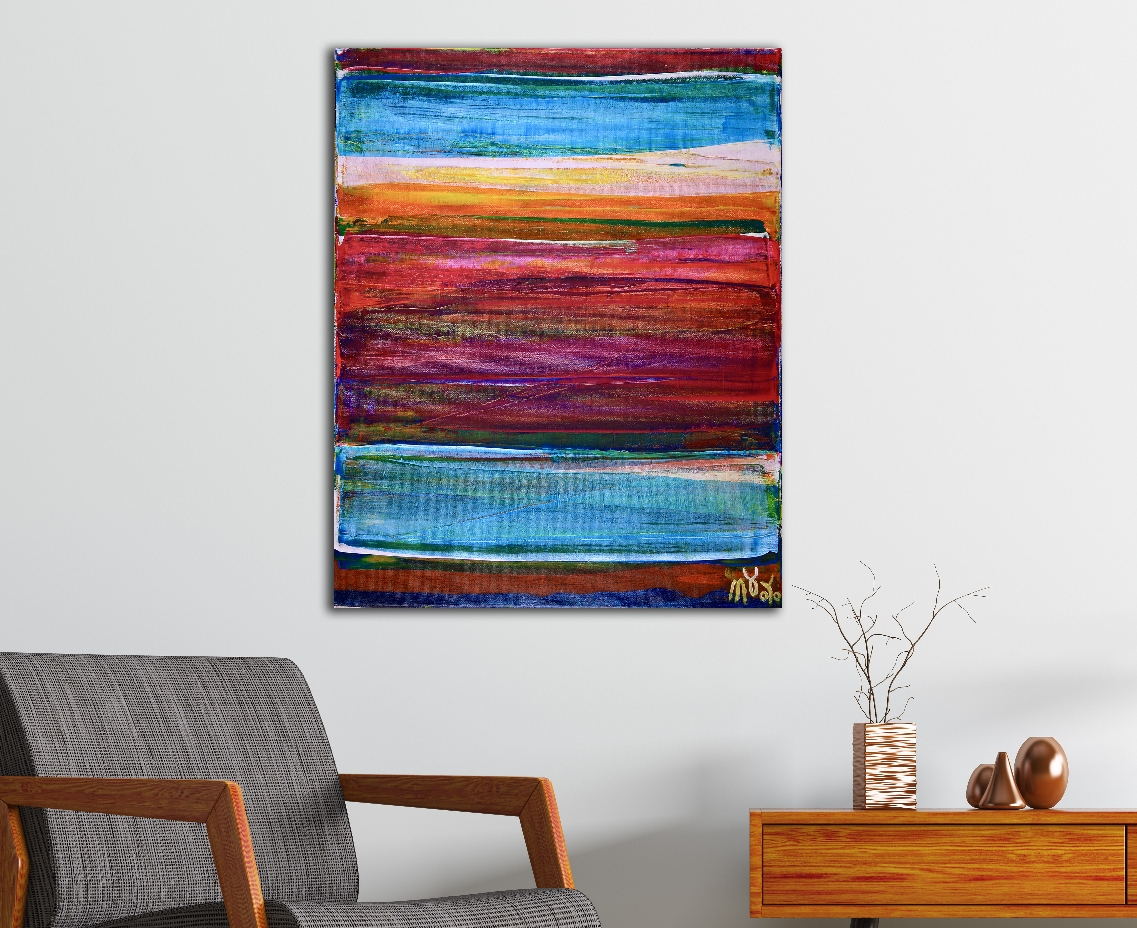 SOLD / Color revival in Los Angeles 2 by Nestor Toro (2018) Abstract Acrylic painting by Nestor Toro