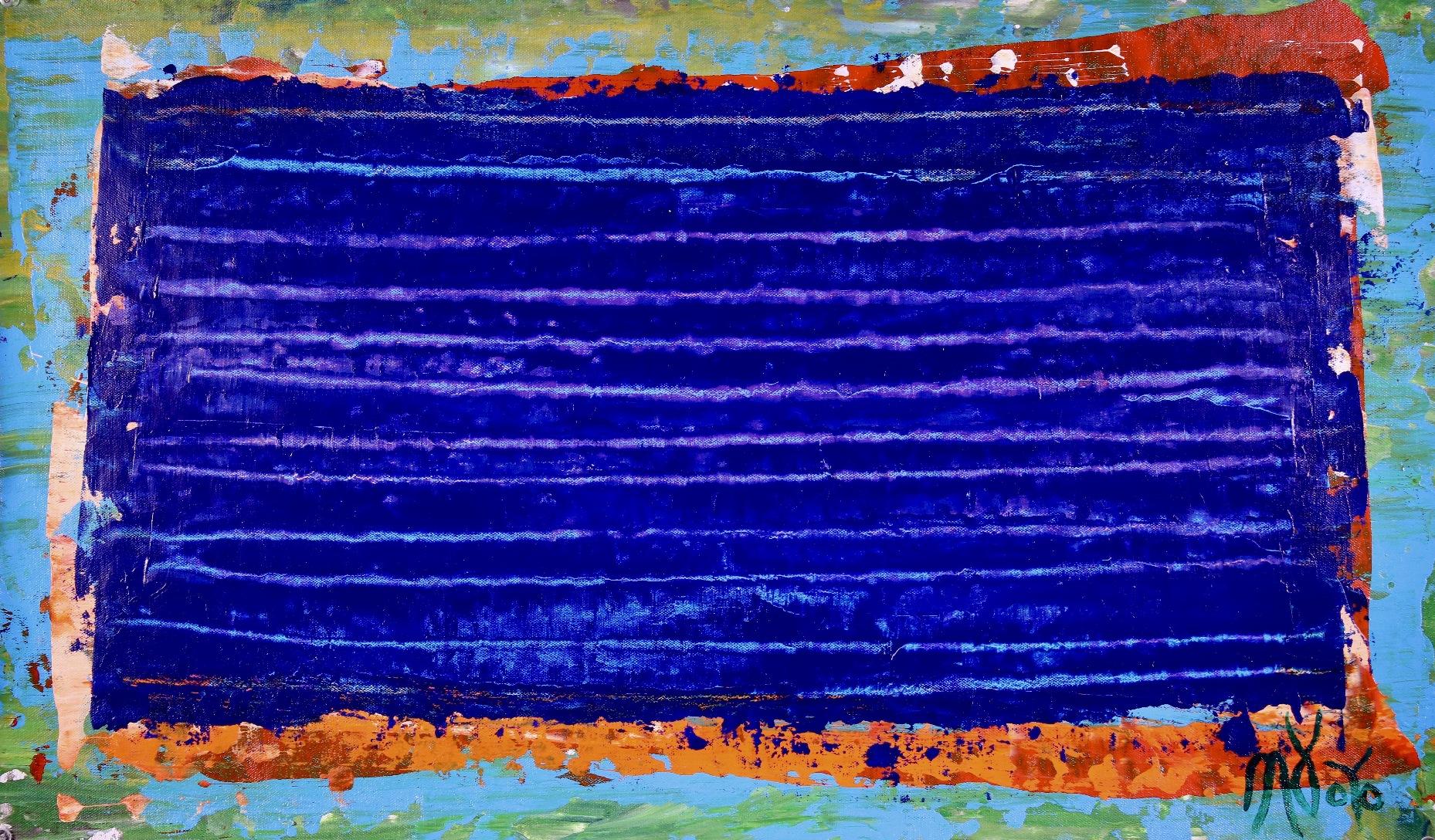 Under blue night light 2 (2018) Abstract Acrylic painting by Nestor Toro