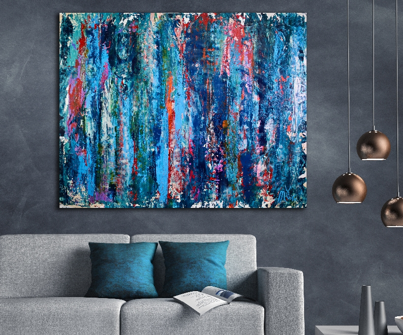 Turbulent night storm (2018) expressionistic Acrylic painting by Nestor Toro