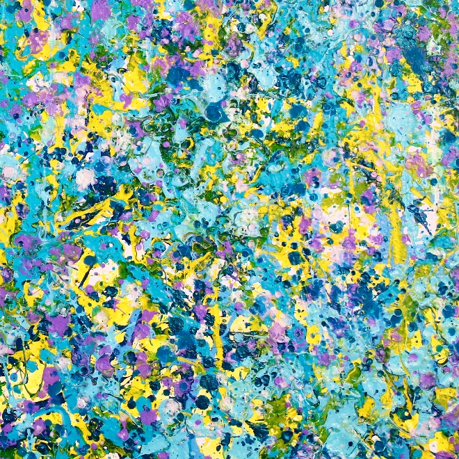 Shimmering lights (In teal and purple) (2018) LARGE Abstract Acrylic painting by Nestor Toro