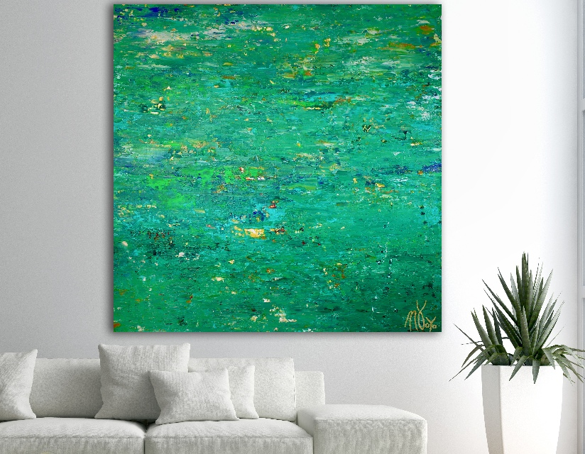 A romance with green (Verdor) (2018) Abstract Acrylic painting by Nestor Toro