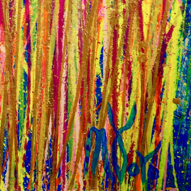 SOLD - Shimmering drizzles 1 (2018) Abstract Acrylic painting by Nestor Toro