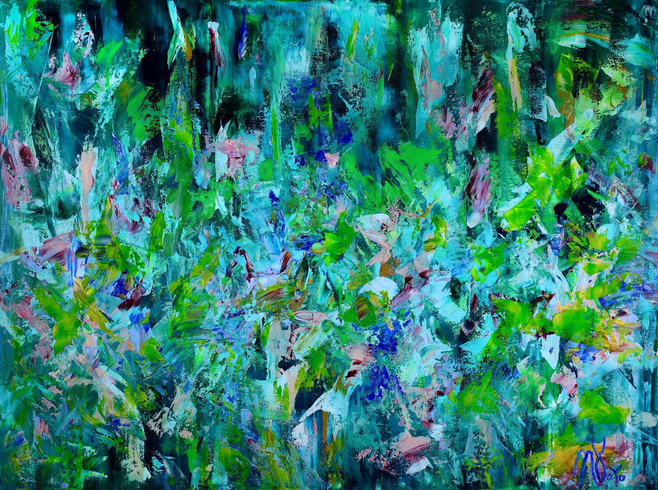After the rainfall - READY TO HANG! (2018) abstract expressionistic Acrylic painting by Nestor Toro