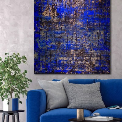 Golden shadows over royal blue (2018) Abstract Acrylic painting by Nestor Toro