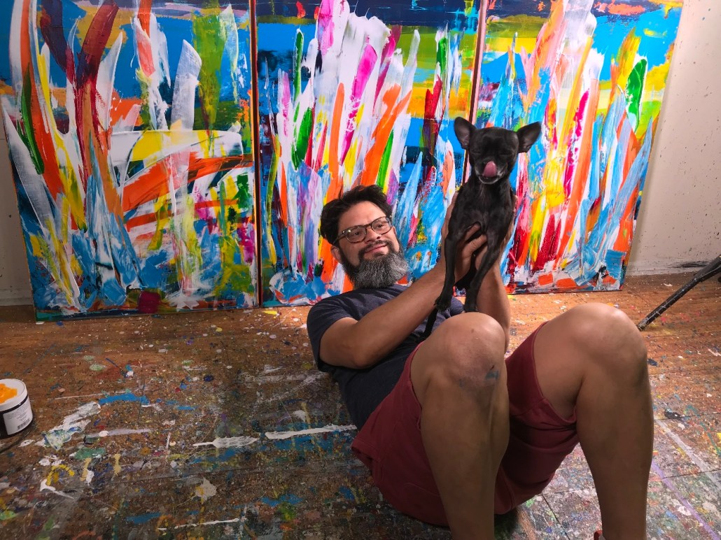 Ginger and Nestor Toro taking a break in the studio in Los Angeles