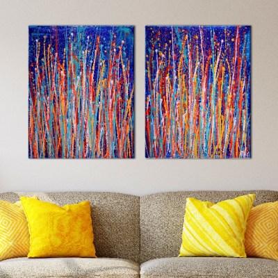 Interrupted Garden (Color Blast) Triptych by Nestor Toro