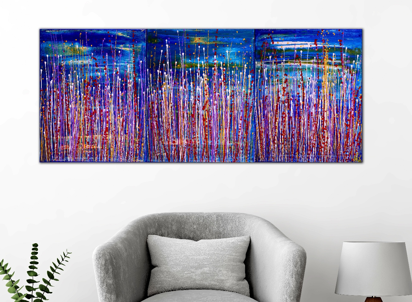 Interrupted panorama 6 by Nestor Toro (2019) Abstract Acrylic painting by Nestor Toro