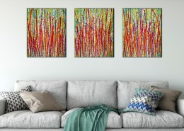 SOLD / Interrupted Panorama 8 (2019) Triptych by Nestor Toro