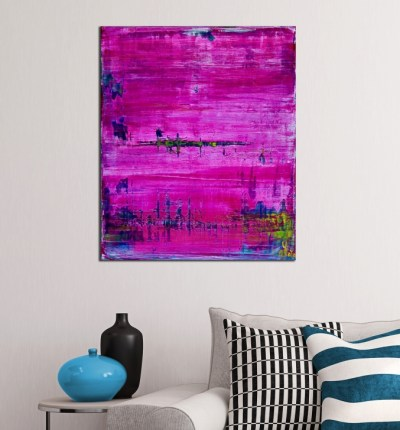 Room View - Distant pink panorama (2019) Abstract acrylic painting by Nestor Toro