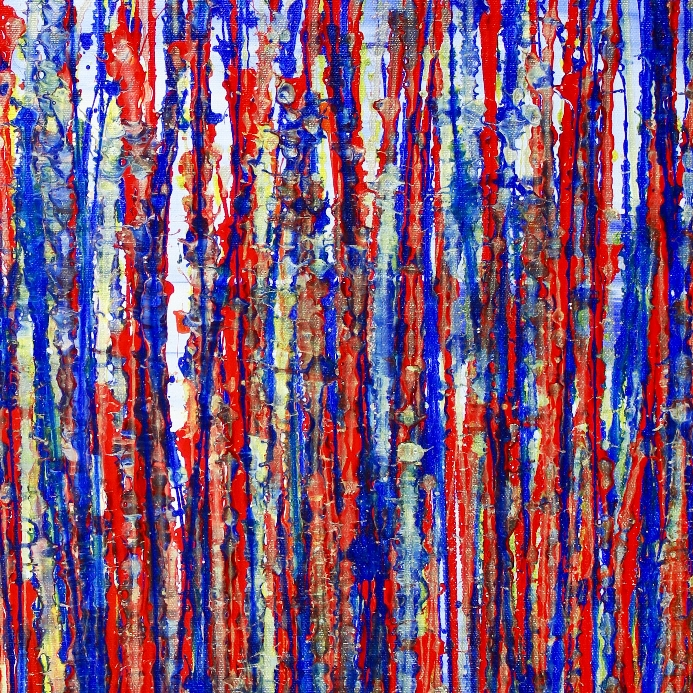 Detail - Red and blue reflections by Nestor Toro (2019) - SOLD ABSTRACT Acrylic painting - Los Angeles