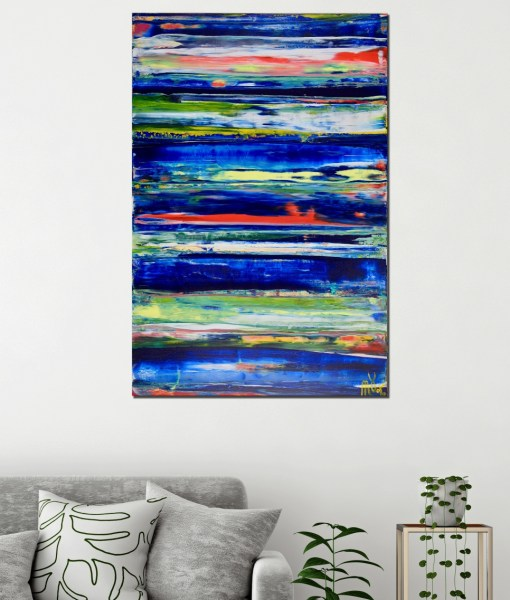 Interrupted Blue Spectra by Nestor Toro (2019) abstract acrylic painting by Nestor Toro