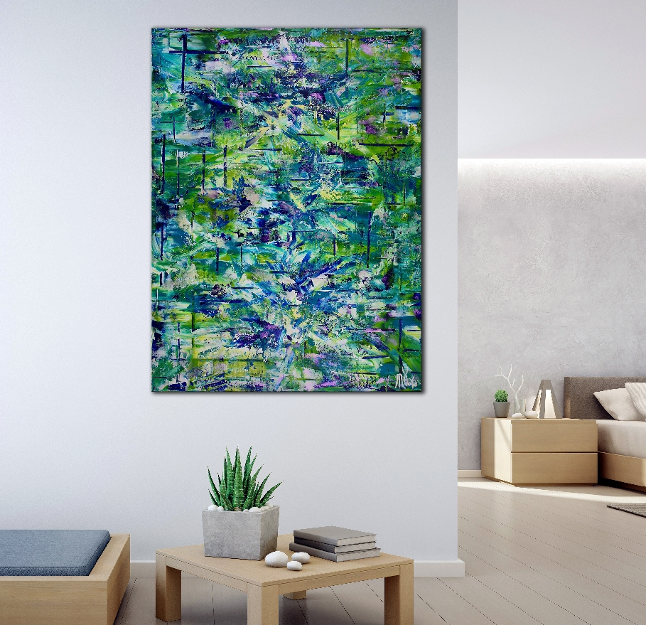 SOLD - Terra Verde ( forest infinity) by Nestor Toro (2019) Abstract Acrylic painting by Nestor Toro