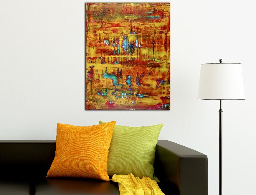 Yellow Fusion 2 - acrylic painting by Nestor Toro