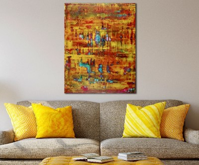 Yellow Fusion 2 - acrylic painting by Nestor Toro