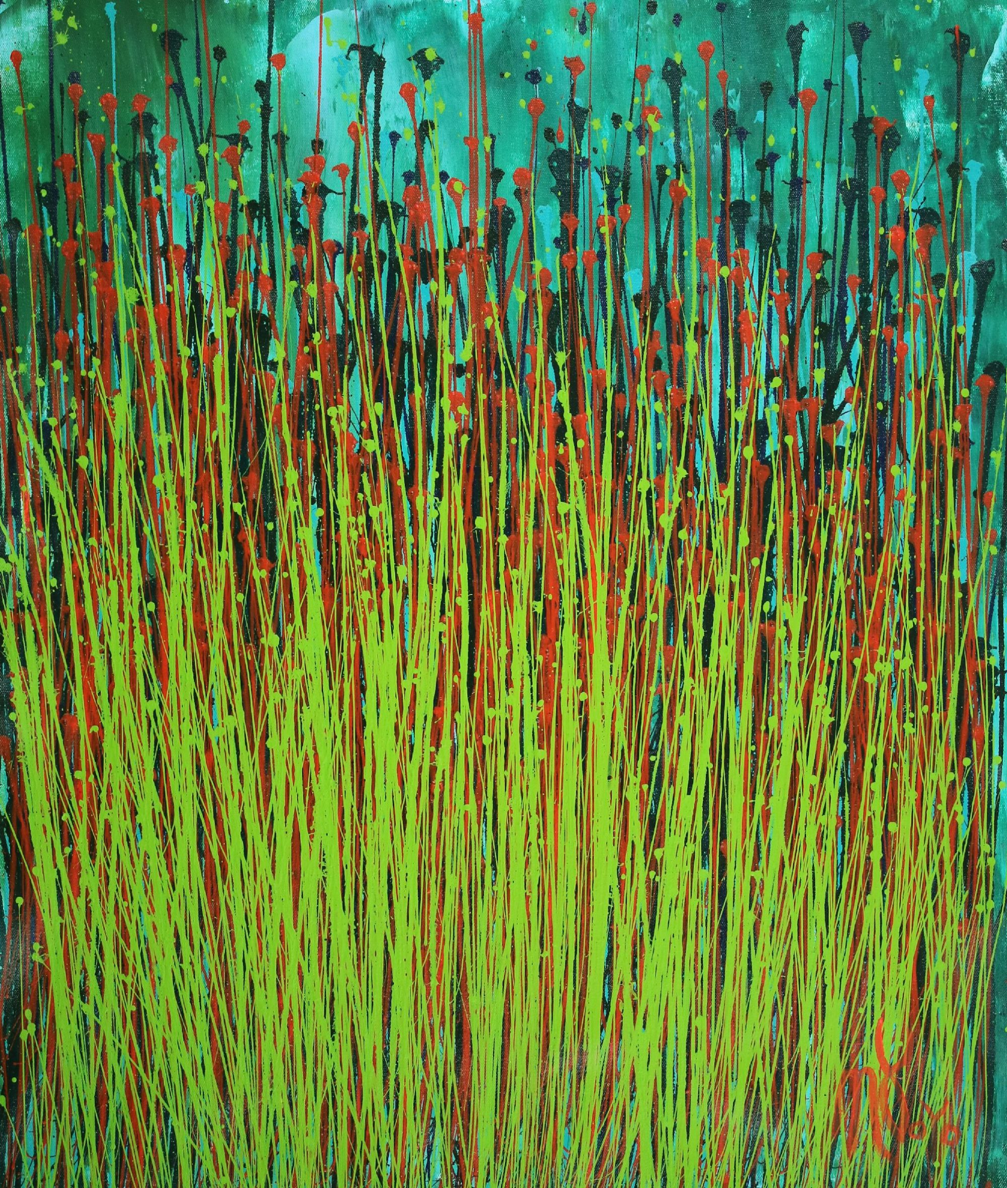 FULL CANVAS - Forest Storm (Green Garden) by Nestor Toro