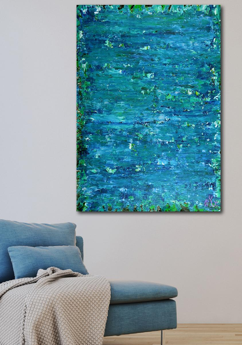 SOLD - Blue satin waves 2 by Nestor Toro - 2020