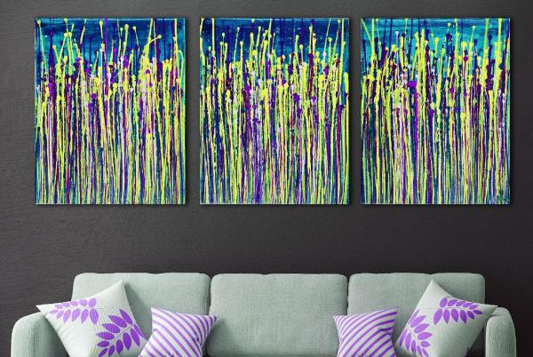 SOLD - Daydream panorama 6 (Teal retreat) (2020) abstract painting by Nestor Toro