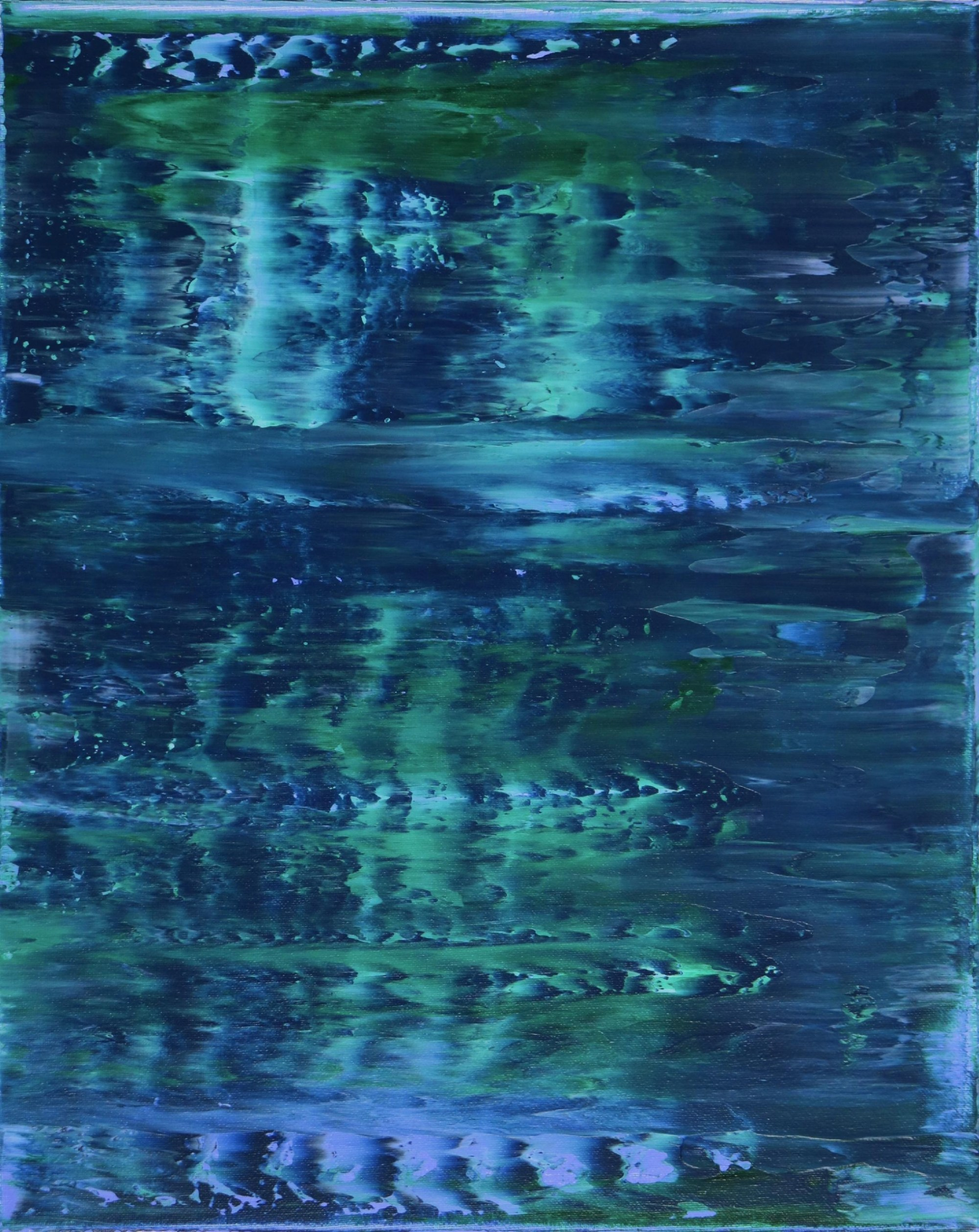 SOLD - Canvas 2 - Stormy Azure Night - Triptych (2020) by Nestor Toro in Los Angeles