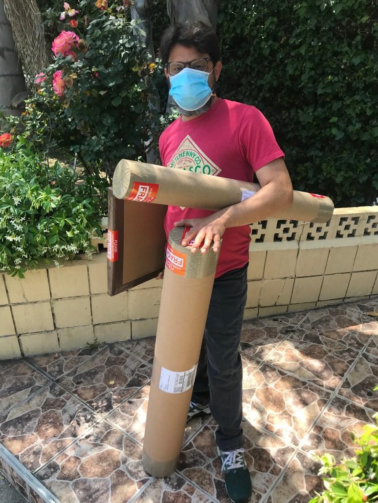 Artist Nestor Toro shipping sold artwork in Los Angeles April 2020