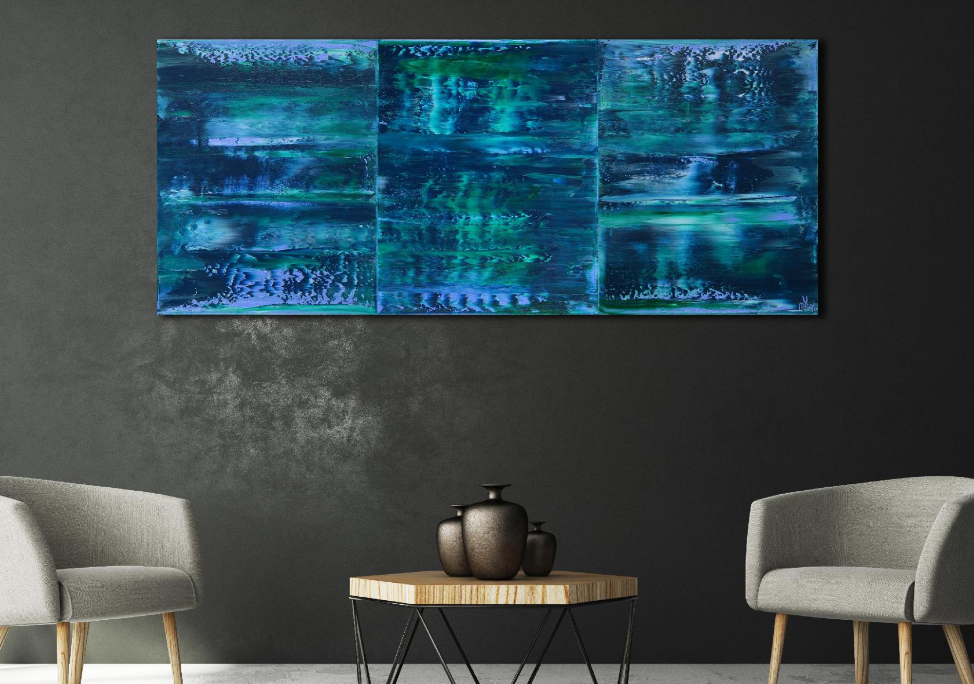 SOLD - Stormy Azure Night - Triptych (2020) by Nestor Toro in Los Angeles