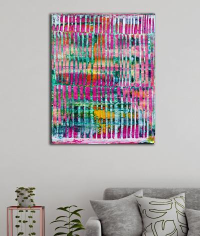 Room View - -Pink Refractions (Green Textures) 1 (2020) by Nestor Toro