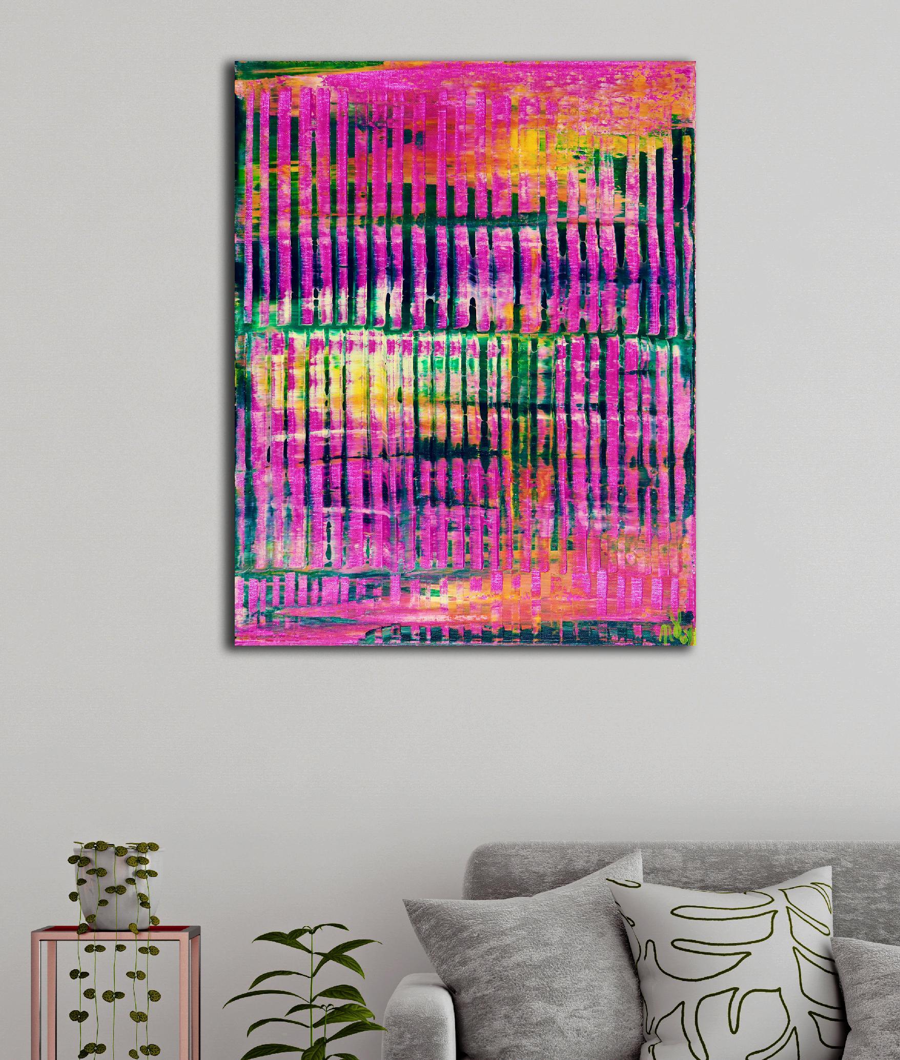 Room View - Pink Refractions (Green Textures) 2 (2020) by Nestor Toro