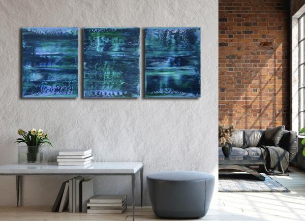 Stormy Azure Night - Triptych (2020) by Nestor Toro in Los Angeles
