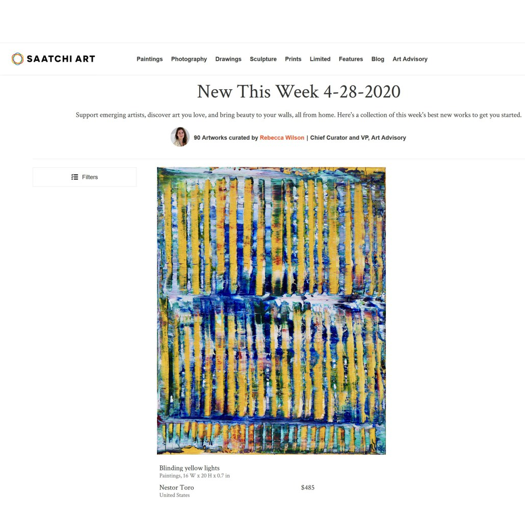 Nestor Toro's work included in the Saatchi art chief curator - Rebecca Wilson for the week of April 28, 2020