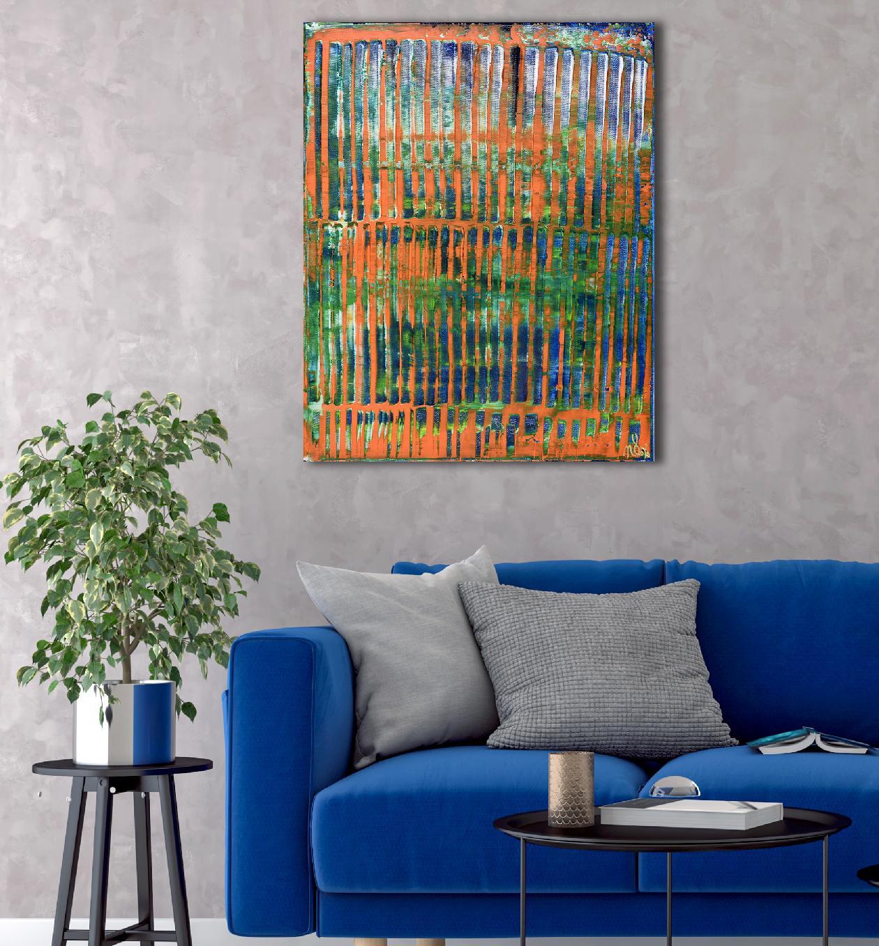 Room View - Orange Panorama (Blue Reflections) (2020) by Nestor Toro
