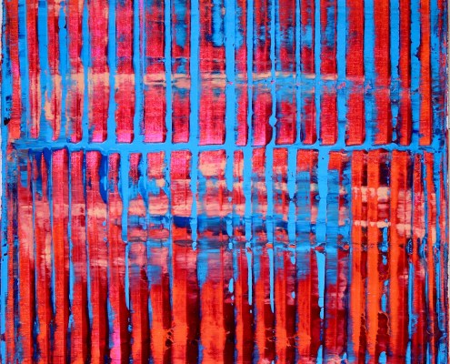 SOLD ABSTRACT ART - Orange and blue with light (2019) by Nestor Toro