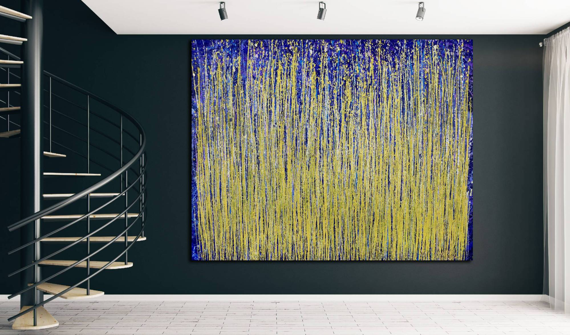 SOLD - Room View - Thunder silhouettes (Golden Spectra) 2 (2020) by Nestor Toro