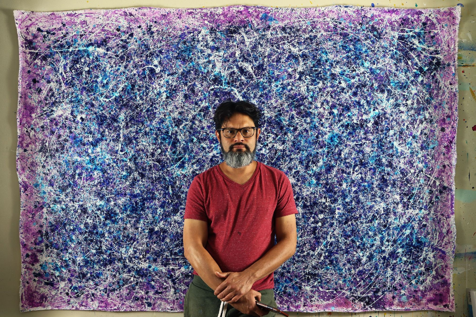 Artist Nestor Toro and his work - Blue Display of Affection (Silver stars) (2020)