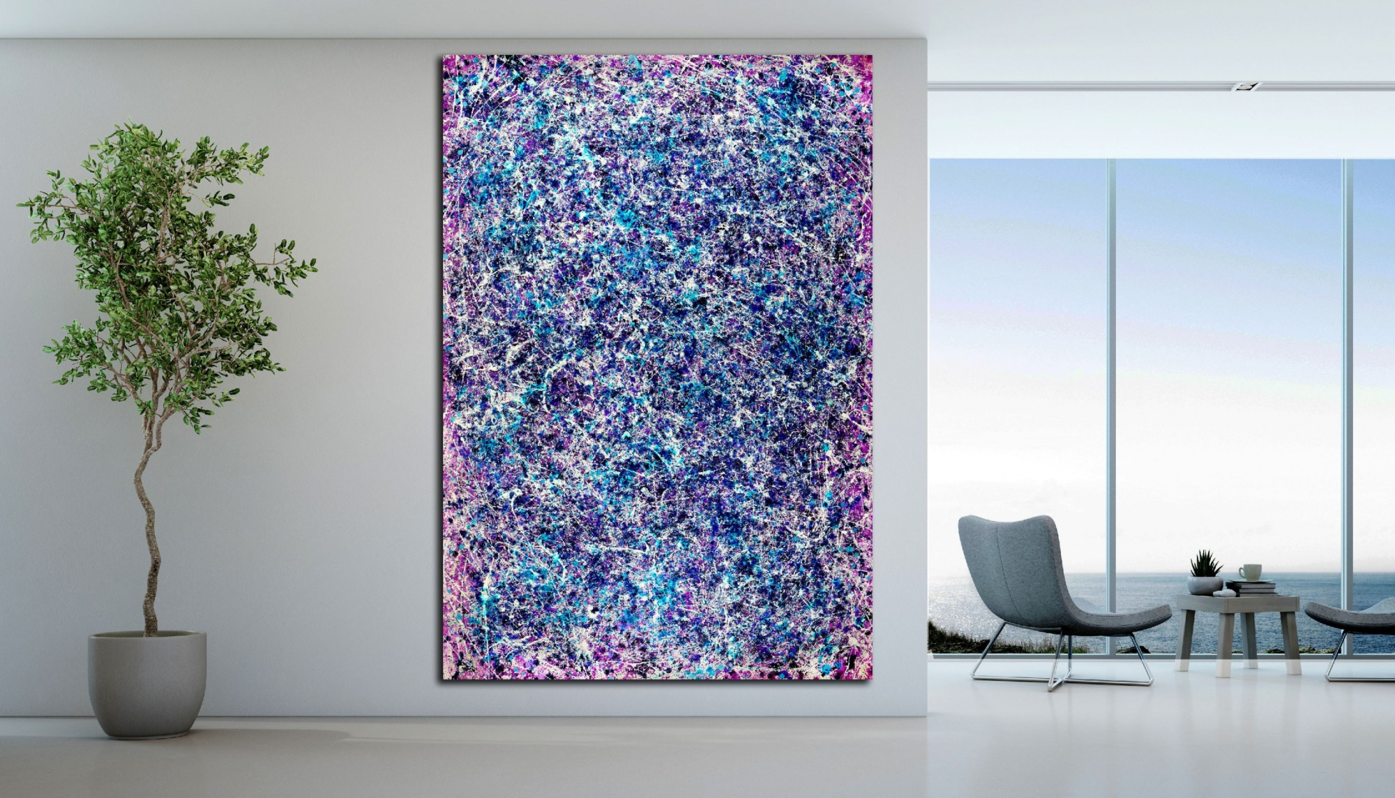 Room View - Blue Display of Affection (Silver stars) (2020) by Nestor Toro