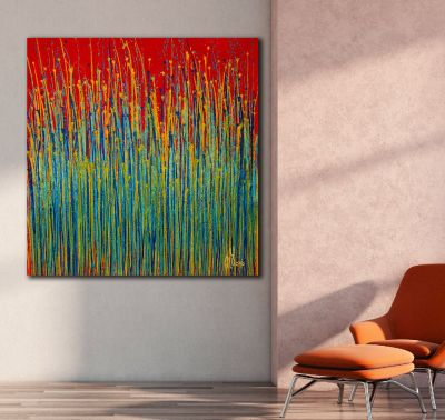 SOLD - Garden Rhythm (Over Red) 2 (2020) by Nestor Toro