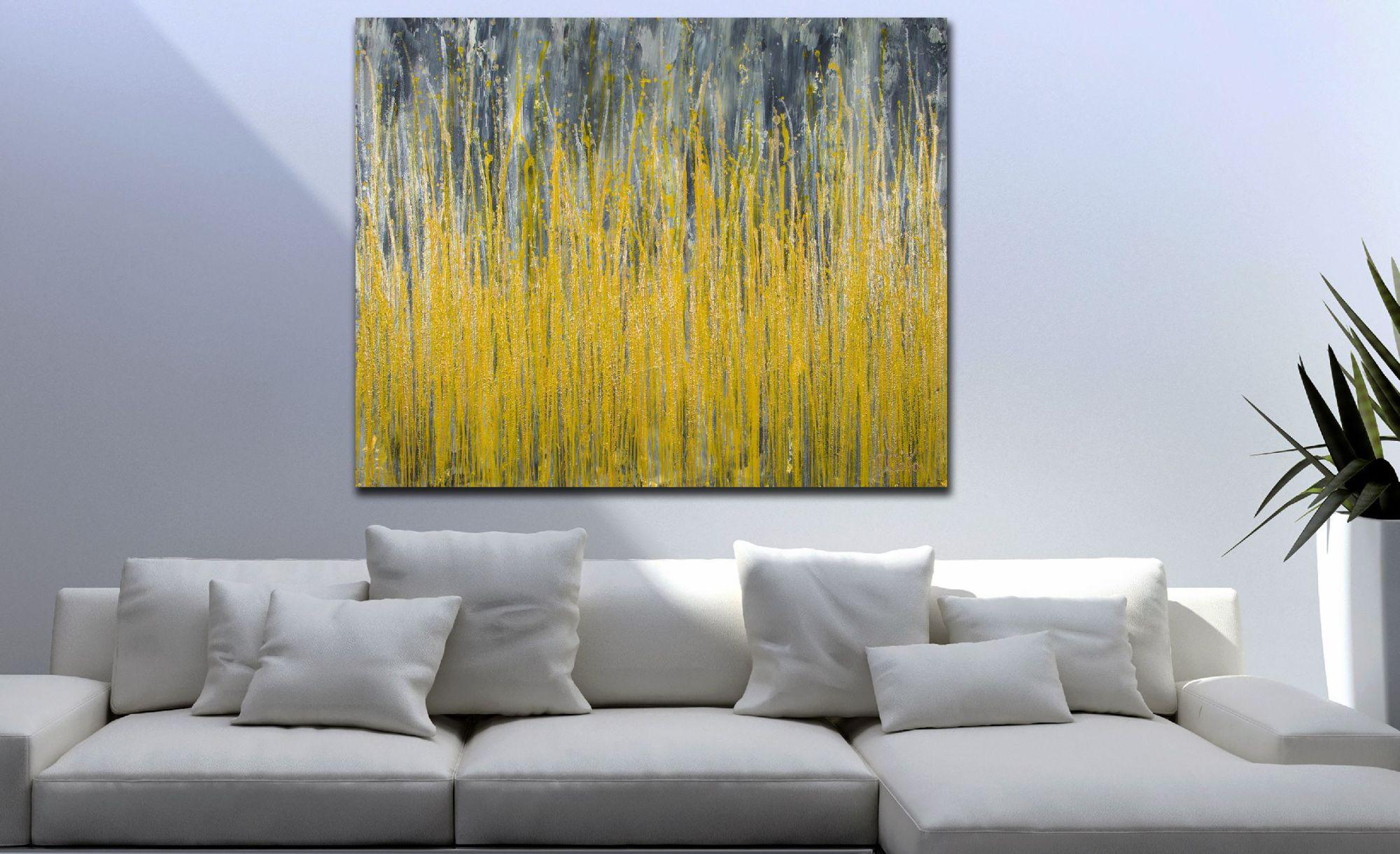 SOLD / Room View - Garden In Motion 4 (Autumn) (2020) by Nestor Toro
