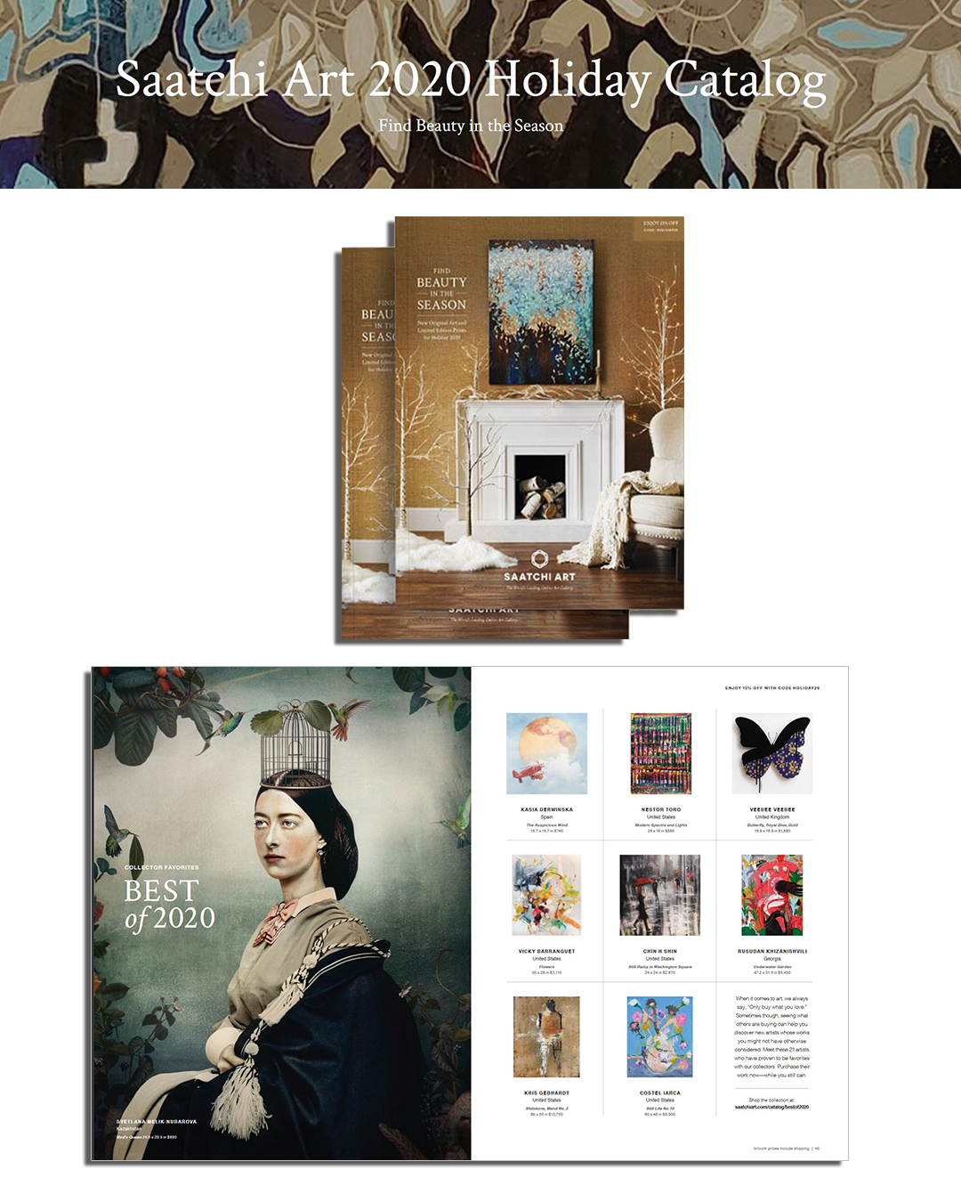 Saatchi Art Holiday 2020 Print Catalog with my work included in this special print edition!