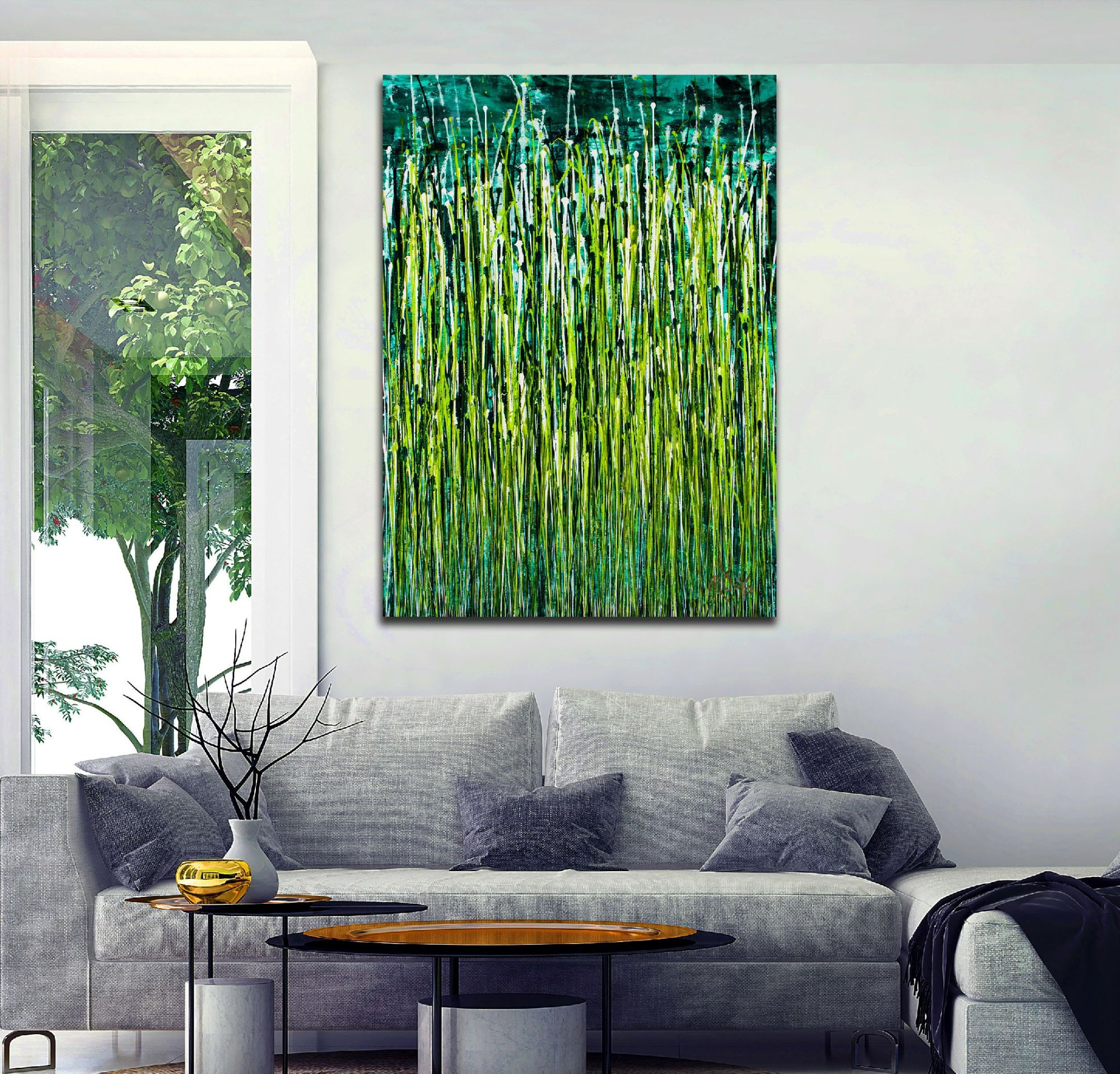 Room example / Evergreen Garden (2020) by Nestor Toro / 35x46 inches