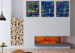 SOLD - Room example / Breeze Intrusion (Gold Cracks) 2020 / Triptych by Nestor Toro