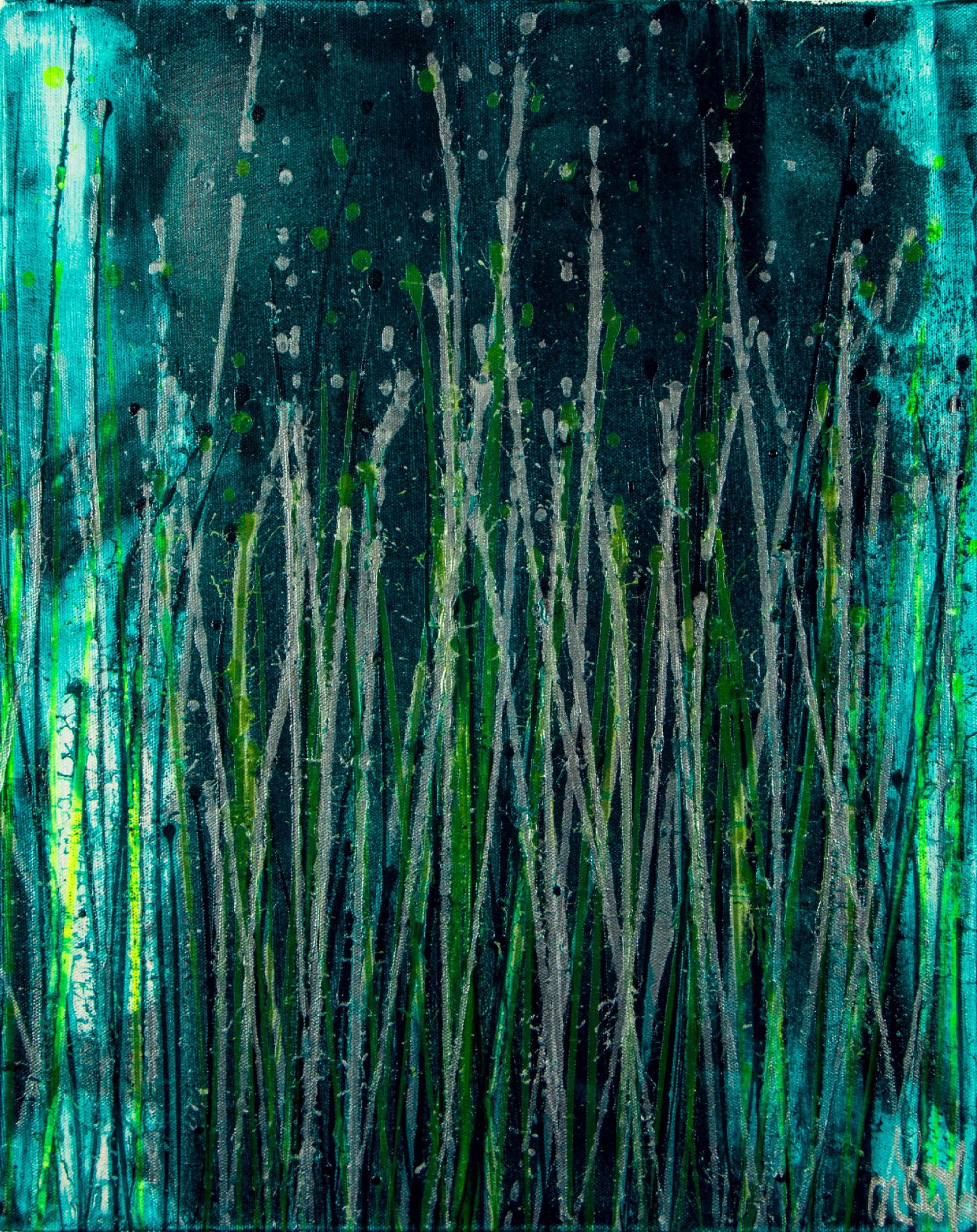 Canvas 3 - Vernal Garden (With Green and Silver) (2021) - Triptych