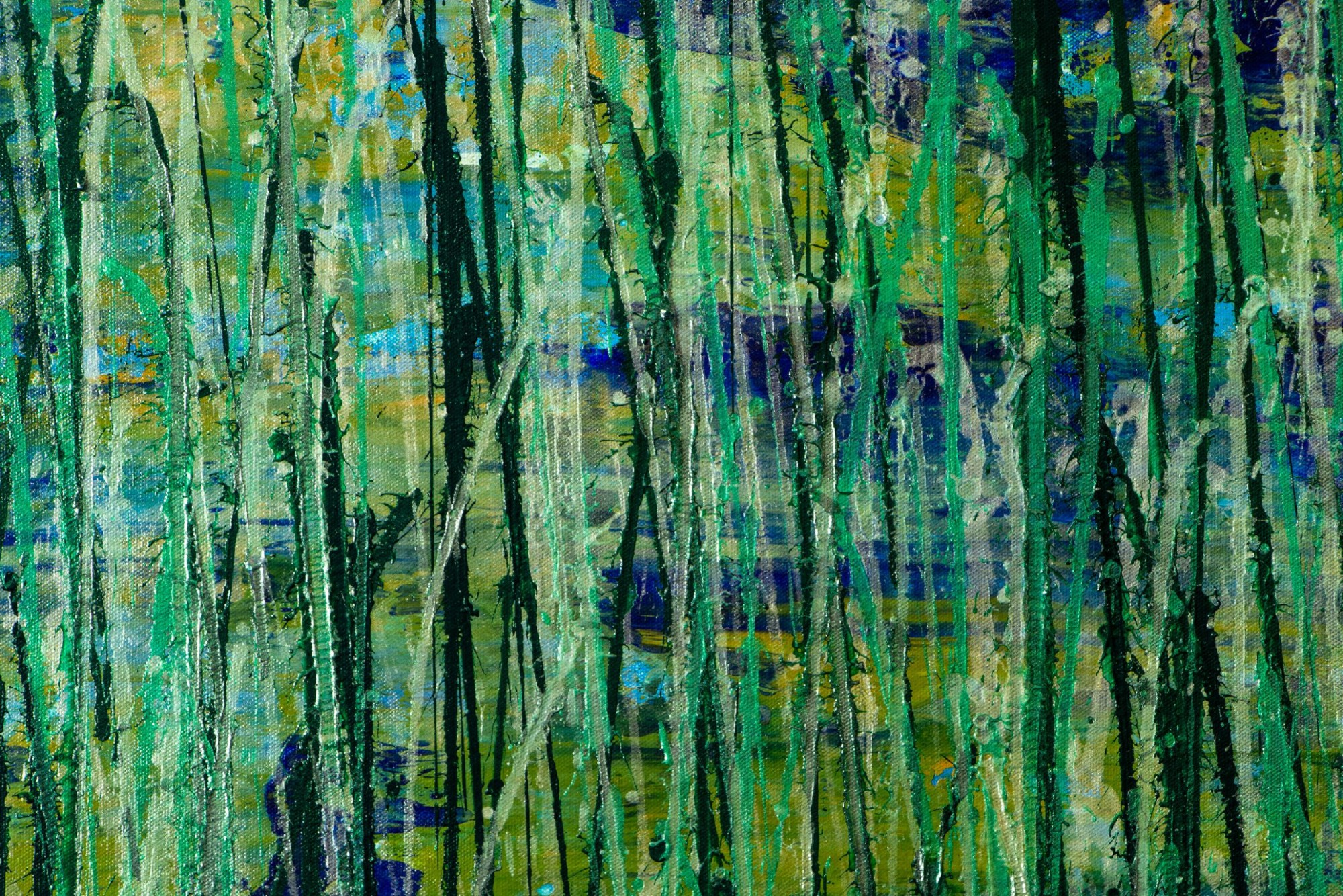 Detail - Green forest (Silver lights intrusions) (2021) 34 x 69 inches by Nestor Toro