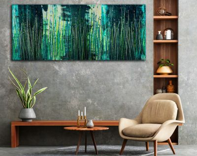 SOLD / Vernal Garden (With Green and Silver) (2021) - Triptych / Artist - Nestor Toro