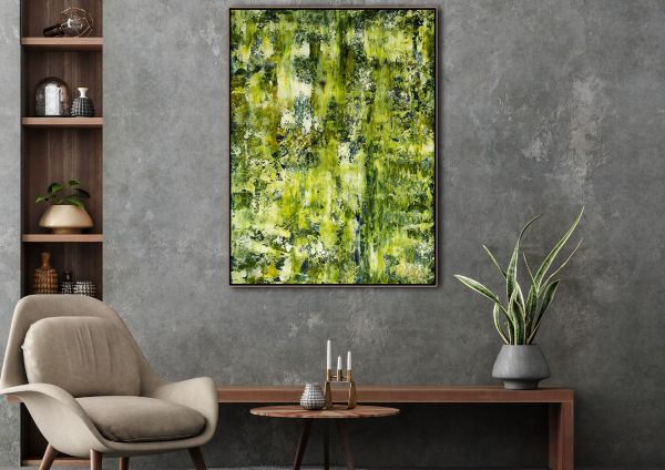 Room example (shown framed) - Forest and Light Trails (2021) by Nestor Toro