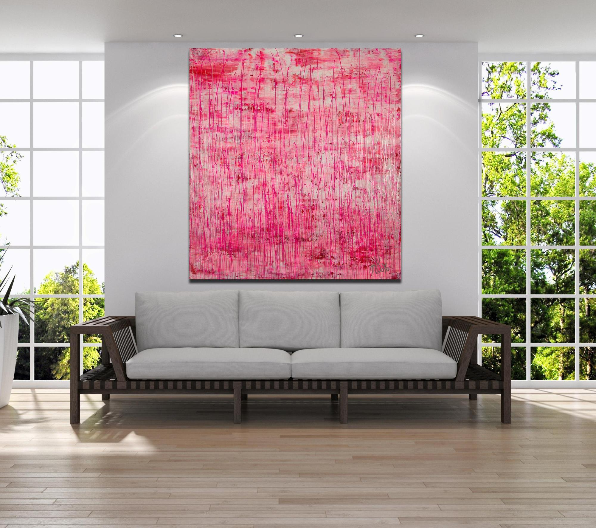 Room Example / Iridescent Drizzles (Rain in pink) (2021) / Artist - Nestor Toro