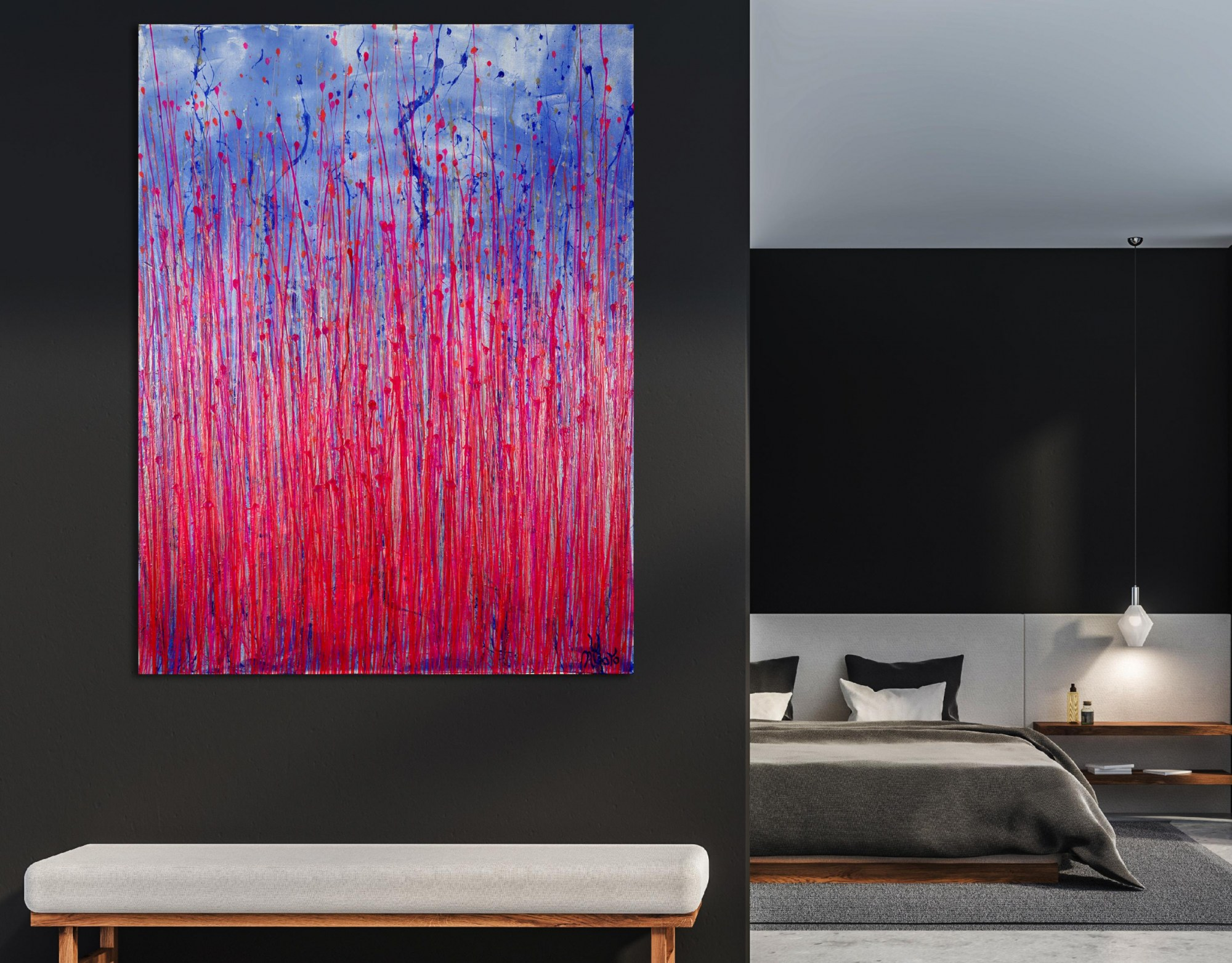 Room example / Pink Takeover (Over Silver Blue) 3 (2021) / 36x48 inches by Nestor Toro