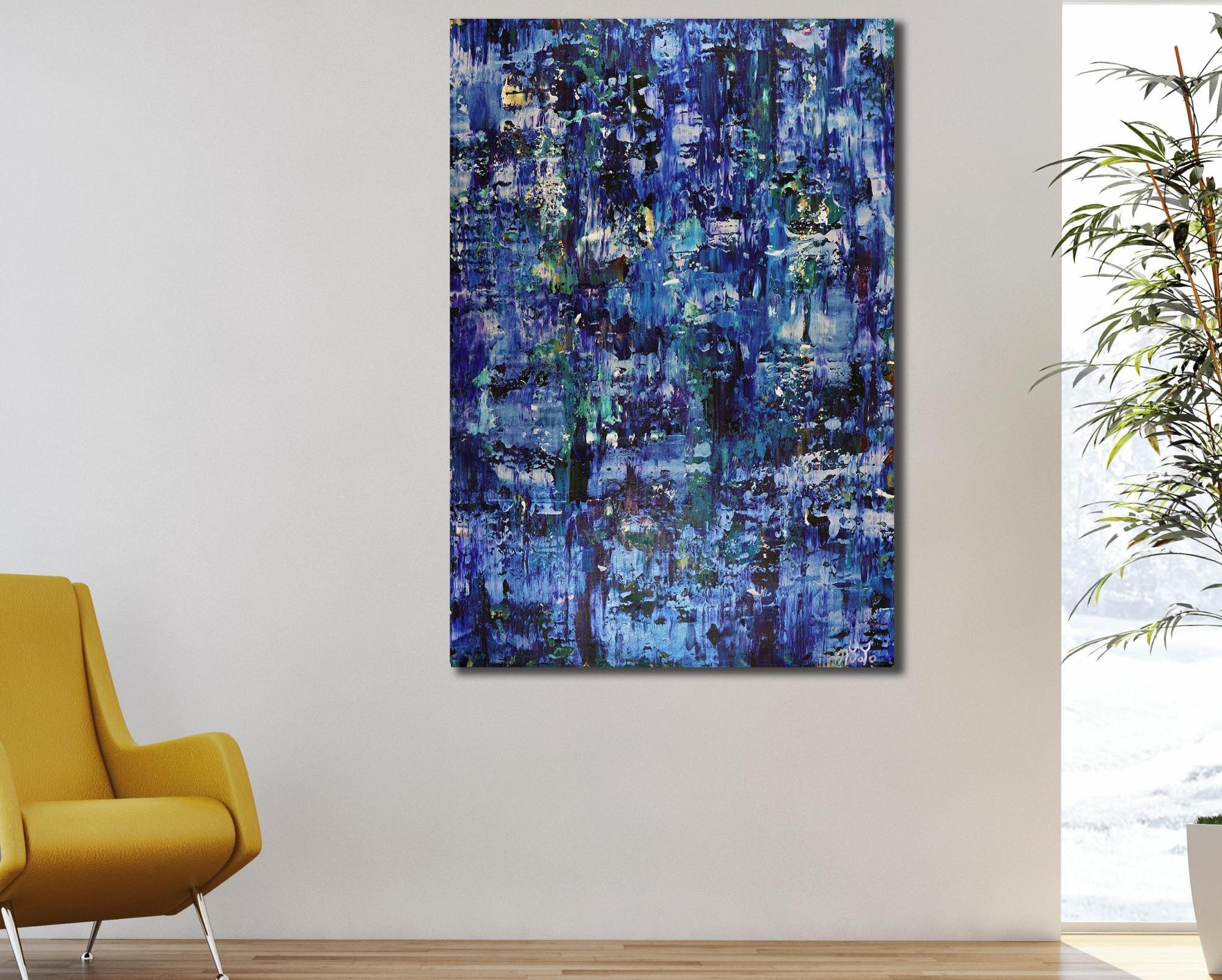 SOLD - Room example / Iridescent Midnight Blue (2021) by Nestor Toro - Los Angeles