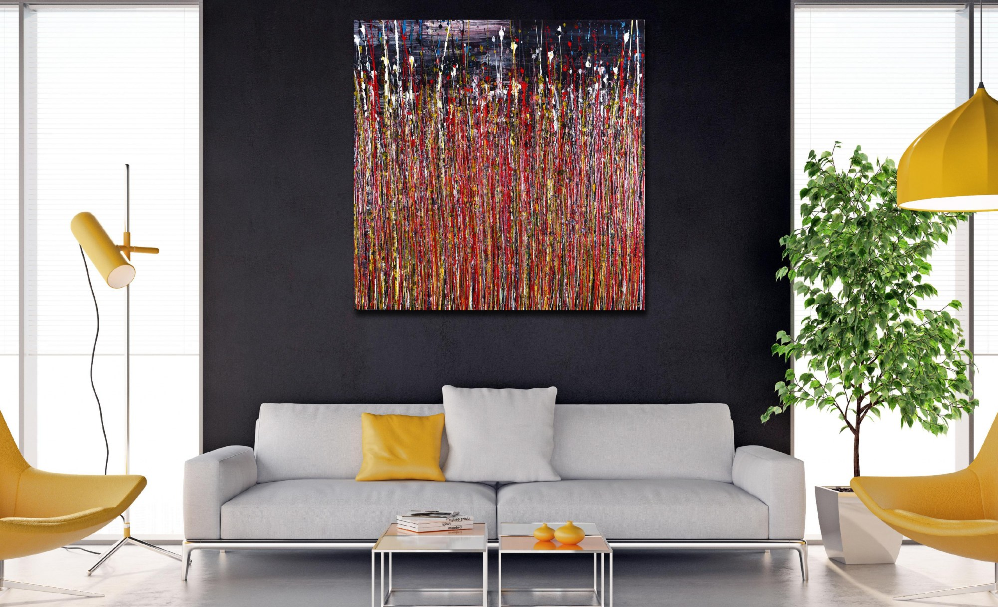 Room View / Reflection of colors 2 (2021) / 36 x 36 inches / Nestor Toro