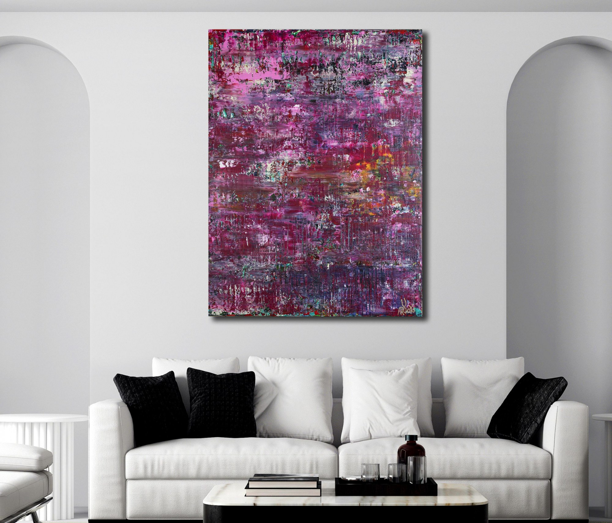 ROOM VIEW / Purple Shade Panorama (Lavender Radiance) (2021) / 36 x 48 inches