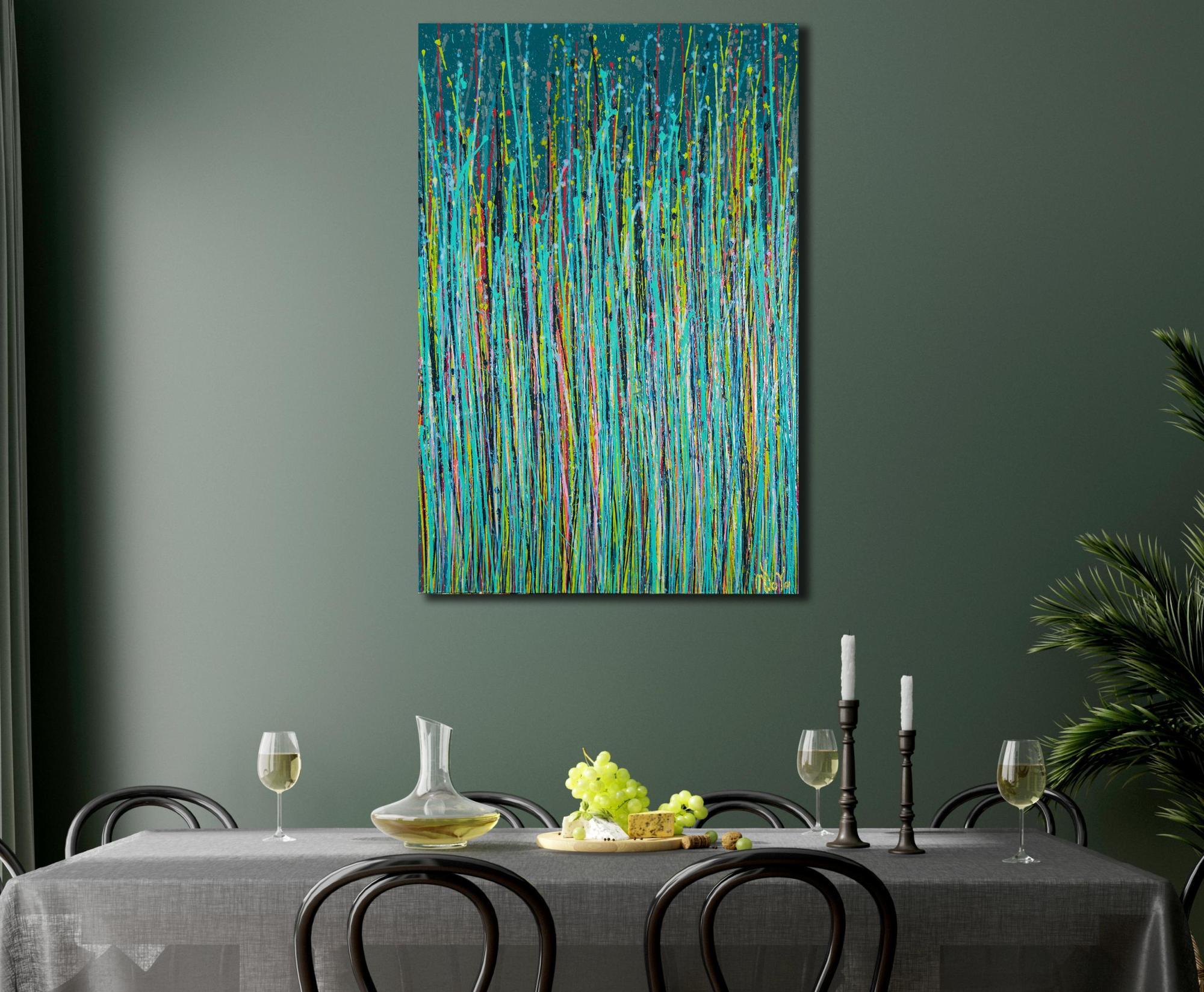 ROOM EXAMPLE / Blue Symphony (Natures Dance) 2 (2021) - 24x36 in / Artist: Nestor Toro