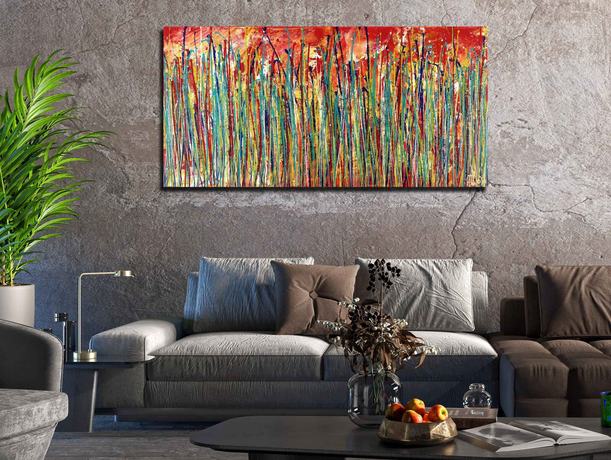 ROOM VIEW / Autumn Motion (2021) - Ready to Hang - 48x24 inches