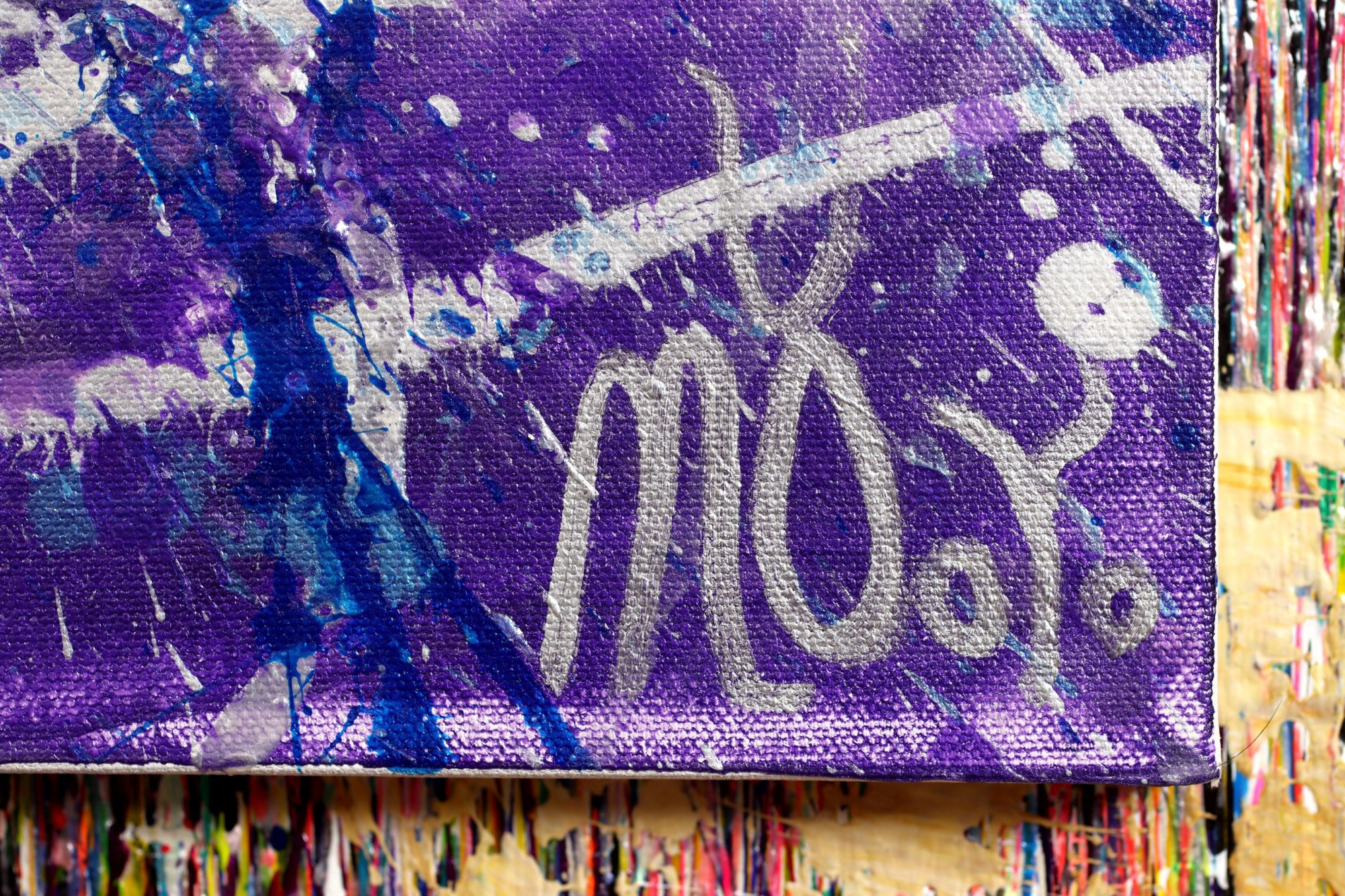 SIGNATURE / DETAIL / Purple Display of Affection (With Blue and Silver) 2 Painting